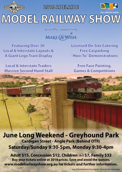 Adelaide model Railway Exhibition, June long weekend 2019
